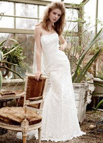 Galina Strapless Lace Gown with Ribbon Detail Style WG3381