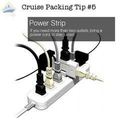 Cruise Packing Hack #5 of 26 - bring a power strip to stay juiced up! Follow Ship Mate for the best cruise pics and tips. Click for all 26 Cruise packing tips: http://shipmateblog.com/cruise-packing-tips-hacks/