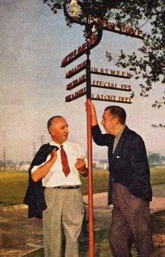 Walt Disney  and Roy Disney at Disney Studios in the 1950's.