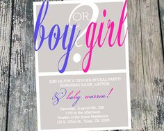 """Boy or Girl?"" Modern-Style Gender Reveal Party Invite"