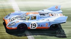 Porsche 917 K Gulf Le Mans 1971 Mixed Media - Porsche 917 K Gulf Le Mans 1971 Fine Art Print