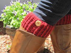 Crochet Burgundy Boot Cuffs Legwarmers Knit by CreativeCowgirl, $15.00