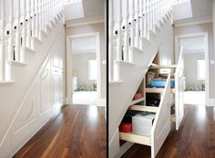 Brilliant under-stair-storage posted by Kathy of Decoratingyoursmallspace.com | thisoldhouse.com
