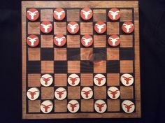UNIVERSITY OF TEXAS Checker Set by WOODuPlayGames on Etsy, $40.00