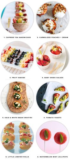 9 Perfect Summer Party Appetizers parti appet, summer parties, fruit kabobs