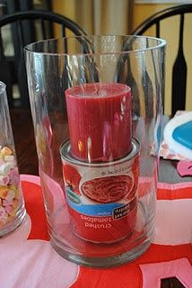 Place a can under the candle before you add filler - you'll use less filler AND the candle will sit straight