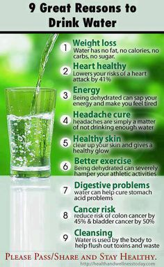 Reasons to drink water It just makes sense that water would change your health Drink 1/2 oz per your body weight in oz everyday to maintain the health you have today 3/4 oz to make a difference and 1oz per lb in oz for micacles like disease. Hydration - new born baby        Deydration - nursing home    Drink my healthy water!