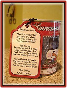 craft, christmas snowman, snowman soup, soup cans