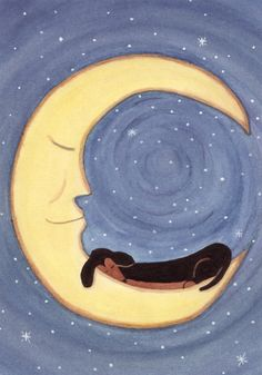 Doxie dreams. Black Dachshund on the Moon. Lynch signed folk art print. Weiner/Wiener Doxie Dog Art. watercolorqueen on Etsy