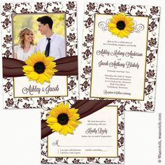 Sunflower Brown Yellow Damask Floral Ribbon Photo Wedding Invitation and Reply Card by wasootch  Perfect for a fall or autumn wedding with a sunflower theme.