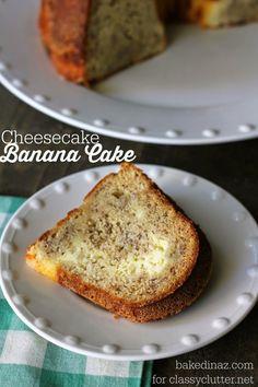 Cheesecake Banana Cake Recipe - www.classyclutter.net