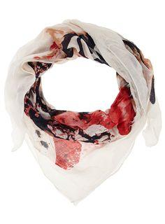 Cream crown print scarf  #Dorothy_Perkins