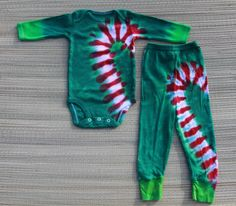 Cute Candy Cane Christmas PJs tie dyed by Ann Kalber