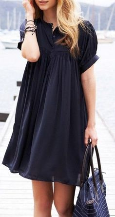 Cutest Navy Dress #dresses #shortsweetstyle