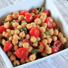 Chickpea and Tomato Salad with Fresh Basil - Frugal Bites