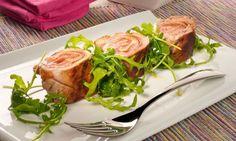 Rollitos de ternera. Receta de rollitos de filetes de ternera rellenos de jamón serrano y queso. Acompañamos los rolitos de ternera con una ensalada de rúcula. #ternera