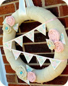 Baby Girl Pennant Wreath Tutorial