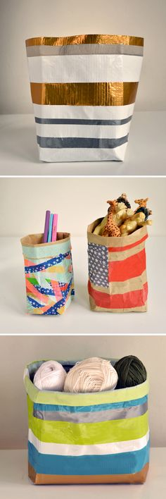paper bag containers with duct tape  washi tape!