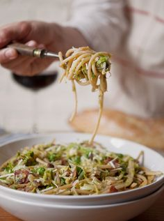 Shredded Brussels Sprouts Bucatini with Peas, Bacon + Mushrooms