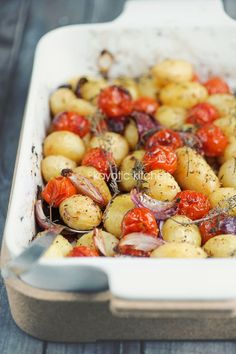 Balsamic Roasted Potatoes &Tomatoes