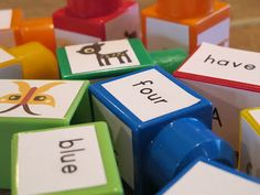 Building Block Literacy: Reuse old blocks and reinforce sight words!