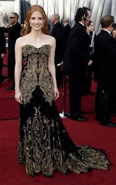 Jessica Chastain an ornate yet timeless dress to the Oscars.  Best and Worst: http://bit.ly/GSCTOc