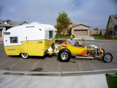 Vintage Shasta pulled by 23 Ford Pick-Up!