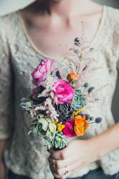 Simple succulent rustic wedding bouquet