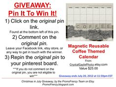 GIVEAWAY - Pin It To Win It: To Win This Item from CrystalGaylePhoto.etsy.com - follow the instructions: Click on ORIGINAL pin, comment leaving a way to contact you, REPIN the ORIGINAL Pin! Contest ends 7/20/12 @ 11:59pm EST. Winner announced 7/21/12.