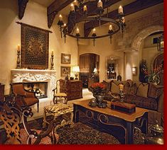 Tuscan style Living Room with clerestory  | Living Area Decorating