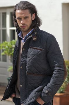 NEW! Mens Navy Quilted Jacket (custom styled for a neater fit). £59.99    #mensfashion #menswear