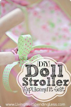 DiY Doll Stroller Replacement Seat--great tutorial for repairing a broken doll stroller!