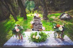 Chocolate naked wedding cake.