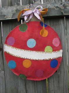 Ornament Burlap Door Hanger. $30.00, via Etsy.