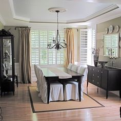 Curtains softening shutters