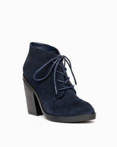 Navy Sueade lace-up bootie