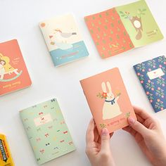 Korean stationery mini note. Cute illustrations printed 6 type diary. Diary for girls.
