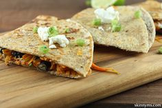 Sweet Potato and Goat Cheese Quesadillas--Love quesadillas but hate the empty calories? Try these sweet potato quesadillas made with black beans, corn, and goat cheese for a healthy alternative.  #sweetpotato #quesadillas #recipe