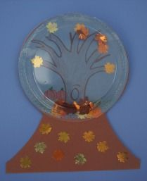 Plastic plate snow globe. Although this is fall themed, could work just as well with winter cutouts.