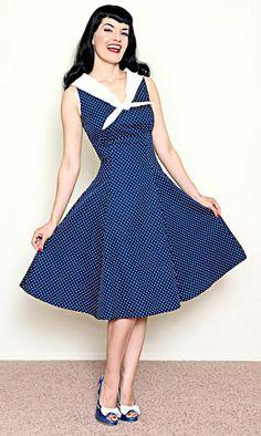 Navy 50's sailor style swing dress