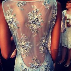 Back Details: Model wearing a Claire Pettibone evening gown at the Claire Pettibone 20th Anniversary party last night  Photo: David Pressman...