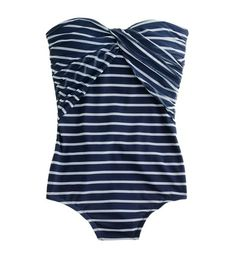 twist front stripe swim suit | j.crew