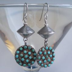 Zuni Turquoise Petit Point and Sterling Bench Bead by audreyf $128.00