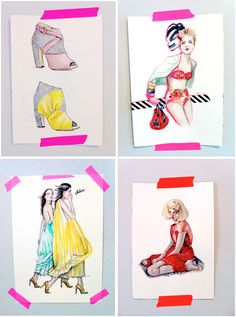 original paintings by Katie Rodgers of Paper Fashion http://paperfashion.bigcartel.com