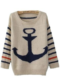 Anchor Print Mohair Sweater