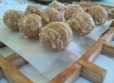 Healthy Glazed Peanut Butter oat balls...made these and they are very tasty, healthy and easy to make!
