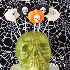 Marshmallow Pops displayed in a dollar store glittery skull.