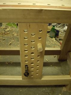 """Rows of 1"""" holes in deadman for Stanley 203 clamp vise. Workbench Build #44: Dog Holes and The Sliding Deadman - by Airframer @ LumberJocks.com ~ woodworking community"""