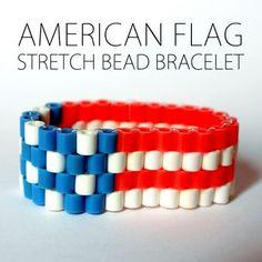pony bead bracelets, stretch bracelets, flags, flag bead, kids american flag