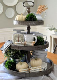 Rustic Wooden Three Tiered Tray | Farmhouse decor from VintageFarmhouseF...